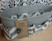Purse ORGANIZER insert SHAPER with handles / Gray & White Chevron / Sturdy / 5 sizes available /Check out my shop for more colors and styles