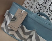 Purse ORGANIZER insert SHAPER with handles / Gray & White Chevron on Blue / Sturdy / 5 sizes available / Bag Organizer