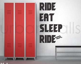 Vinyl Wall Sticker Decal Art - Ride. Eat. Sleep. Ride More