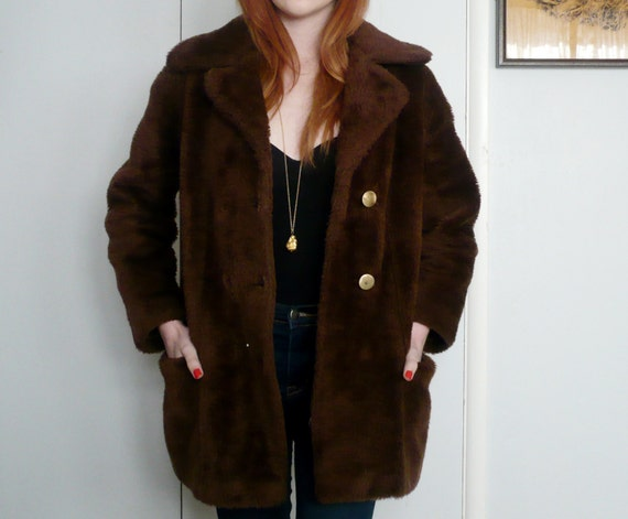 Faux Fur Brown Teddy Bear Coat M by PrettyLittleFawnShop ...