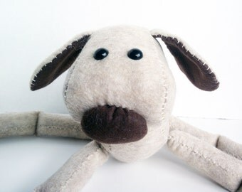 Dog or puppy felt plush - sandstone and brown
