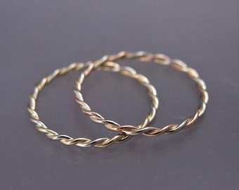 14k Gold Extra Tiny Twist Ring in Solid Rose Gold 1.25mm