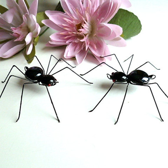Two Medium Hanging Handmade Black Spiders Perfect for Entomologists and Bug Lovers