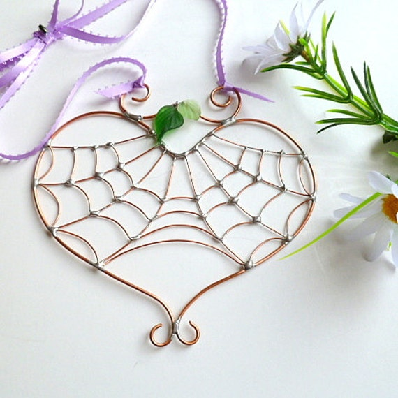 Small Handmade Copper Spiderless Heart Web Hanging Perfect for Entomologists and Bug Lovers