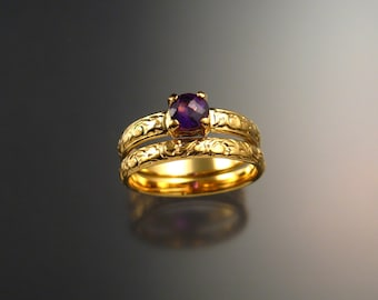 Amethyst Wedding ring set 14k Yellow White or Rose Gold made to order in your size