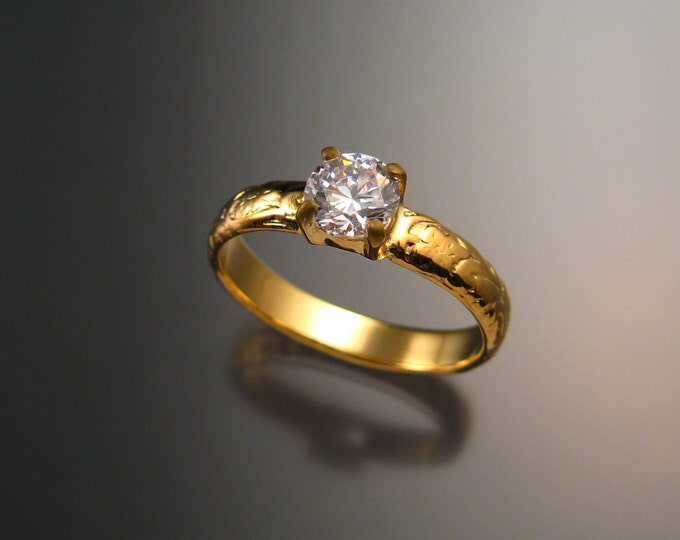 Natural White Zircon Wedding ring 14k Yellow Gold Diamond substitute ring made to order in your size