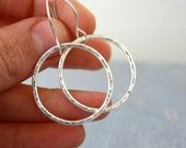 Sterling silver hoop earrings / shiny silver hoops / dangle hoops / geometric jewelry / handmade Gifts under 50