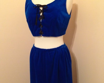 Vibrant Blue Velvet Vintage One Of A Kind 60s Handmade Festival Costume Boho Two Piece Outfit Dirndl Style
