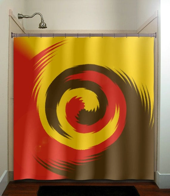 Mustard red brown swirl shower curtain bathroom by tablishedworks