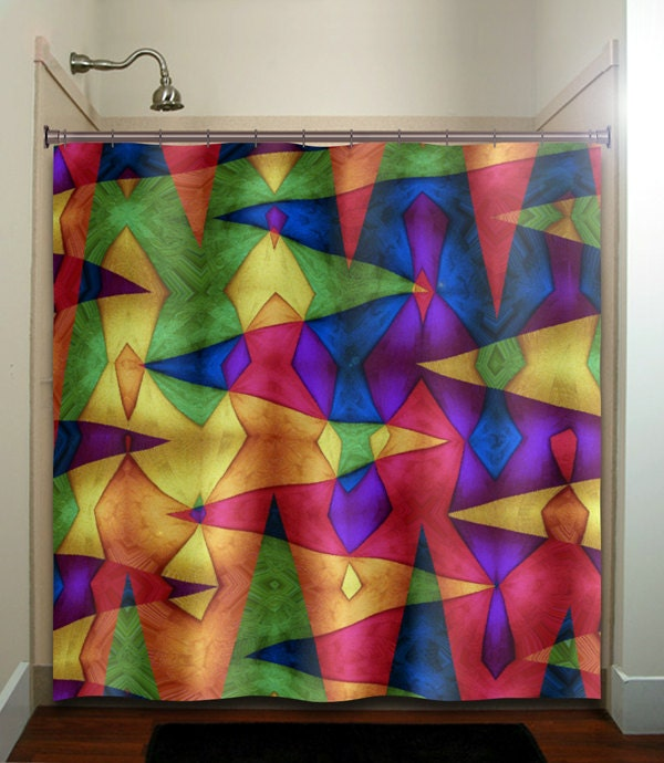 Multi Color Carnival Chevron Shower Curtain By TablishedWorks