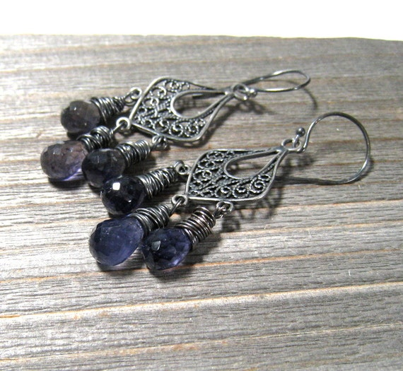 Blue Iolite Earrings,  Wire Wrapped in Sterling Silver , Chandelier Gemstone  Earrings, September Birthstone Jewelry
