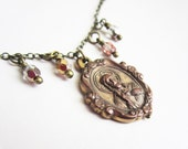 SALE! Vintage Brass Toned Religious Medal & Glass Bead Necklace - 18 inch