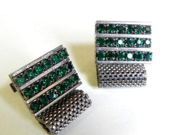 Vintage 1960s Rhinestone Mesh Cuff Links Green Sparkle - ON SALE