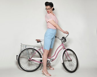 Vintage 1960s Jantzen Blue Shorts - Bermuda Pastel - Summer Fashions