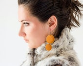 Tangerine orange leather circle earrings SALE
