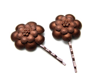 ALL funds are going to cat shelter - Brown bronze metallic leather flowers bobby pins - set of 2