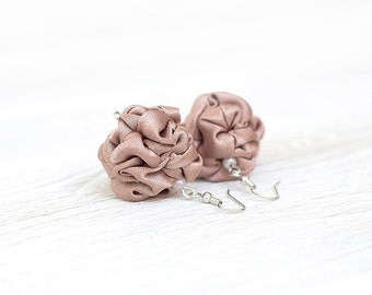 Light brown  fabric bead Earrings, ruffled textile earrings, fabric jewelry, textile jewelry, dangle earrings, Unique Gift for Her