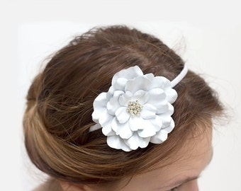 White Leather flower headband, leather fascinator, Floral Headband, Hair Accessory, Coachella Flower, prom flower, wedding flower