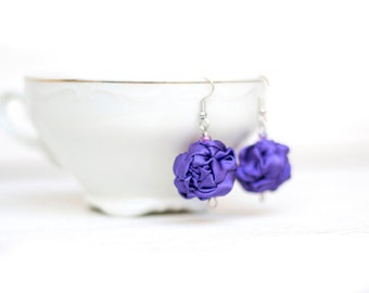 Purple  fabric bead Earrings, ruffled textile earrings, fabric jewelry, textile jewelry, dangle earrings, Unique Gift for Her