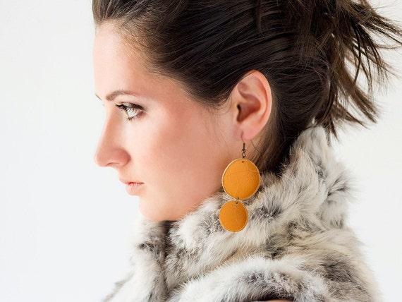 Tangerine orange leather circle earrings SALE