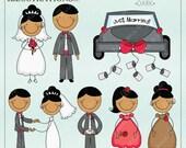 Bridal Stick Figures -DARK - Cute Digital Clipart for Card Design, Scrapbooking, and Web Design, Wedding Stick Figures