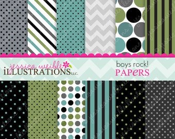 Boys Rock Cute Digital Papers Backgrounds for Invitations, Card Design, Scrapbooking, and Web Design, Rockstar Papers