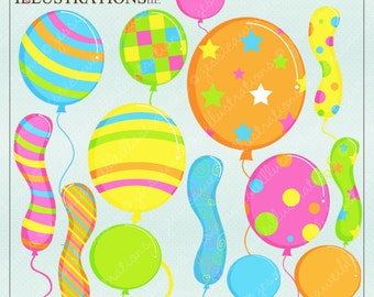 Party Balloons Cute Digital Clipart for Card Design, Scrapbooking, and Web Design, Balloon Clipart