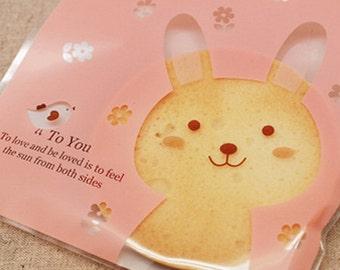20 Pink Rabbit Self Sealing Cellophane Bags (5.1 x 5.1in)