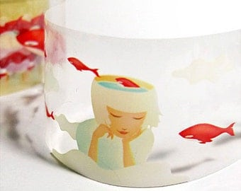 Red Whale & Cloud Adhesive Tape (1.6in)