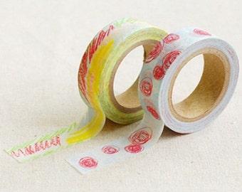 2 Set - Childlike Pastel Crayon Graffiti Adhesive Masking Tapes (0.6in)