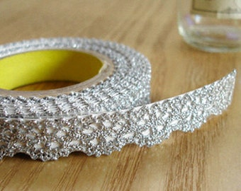 Romantic Lace Adhesive Fabric Tape - Silver (0.5in)