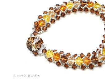november birth stone bracelet . swarovski crystal . topaz . bronze . gold . orange . brown . gift idea . november birthdays