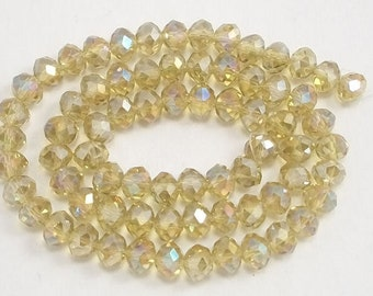 5x8mm Yellow AB Faceted Glass Crystals (50)