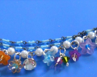 Hand Crafted Beautiful Spring/Summer Bracelet Made from Pearls, Resin Flowers & Rosary