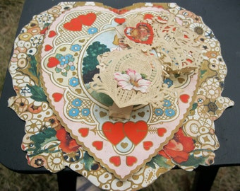 Victorian Valentine Card, Die Cut, Lace