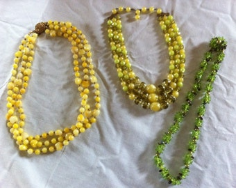 Beaded Necklaces Vintage Yellow Green