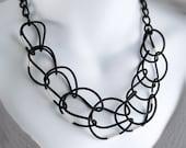 Statement Necklace Black web Lace.