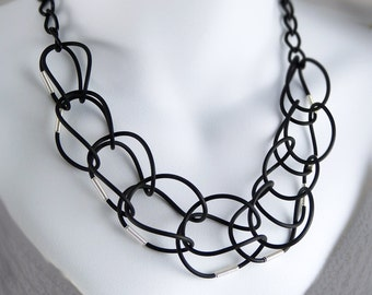 Statement Necklace Black web Lace.
