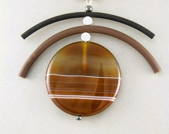 Contemporary Statement  Agate Pendant on Rubber Cord