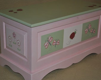 Kids Lady Bug Dragonfly and Floral Pink and Green Childrens Toy Chest