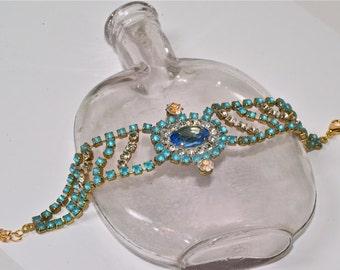 Stunning Vintage  Czech  Bracelet Vintage Blue Czech Rhinestone Bracelet