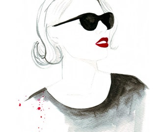 Watercolour fashion illustration Titled Red lip