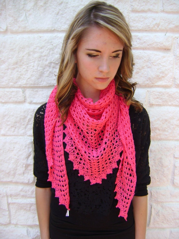 Triangle Shawl or Scarf Pattern Easy Crochet by