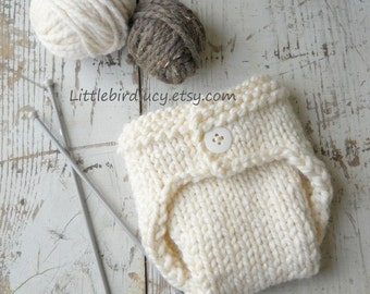 Diaper Cover, Newborn Baby, Knit, Hand Knitted Infant Photo Prop, SALE Cream, Over 40 Colors Options, NB 0-3 Mo. Great Prop Basic