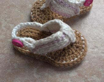 Baby girl flip flops, Crochet baby Flip Flops, Baby girl flip flops, Baby sandals, Sizes 0-6 Months and 6-12 Months