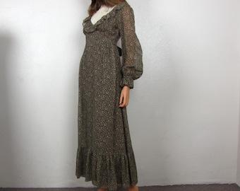 Vintage 1970's Prairie Boho Maxi Dress by Candi Jones