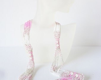 CLEARANCE statement necklace seeds beads pink and pearl white multiple strands