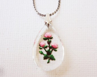 intaglio necklace reversed carved floral pendant with silver chain