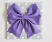 "Baby Nursery Wall Decor -Large Lavender Bow on Gray and White Polka Dot 12 x12"" Canvas Wall Art"