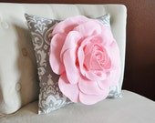 Damask Pillow. Light Pink Rose on Gray and White Damask Pillow. Ozborne Pillow.
